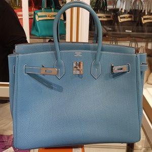Hermes Blue Jean Birkin 35 size Togo Palladium PHW
